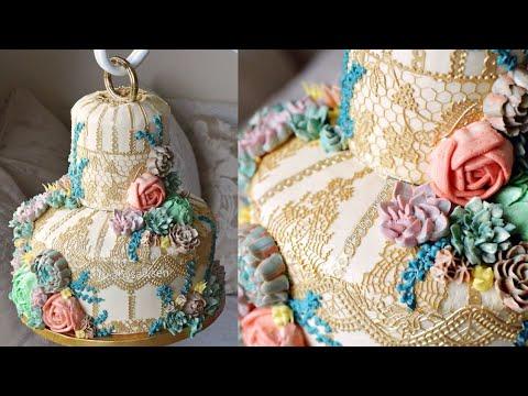 Vintage Terrarium Birdcage Cake with buttercream succulents - cake decorating tutorial - it hangs!