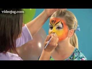 Как нарисовать аквагрим Тигр. How To Do Face Painting: The Tiger