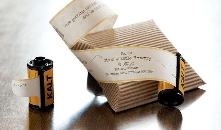 приглашение на свадьбу в виде катушки фотопленки