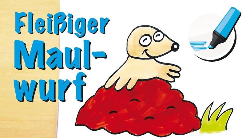 Maulwurf zeichnen lernen: Der Bergarbeiter des Tierreichs - How to draw a Mole (Cartoon)