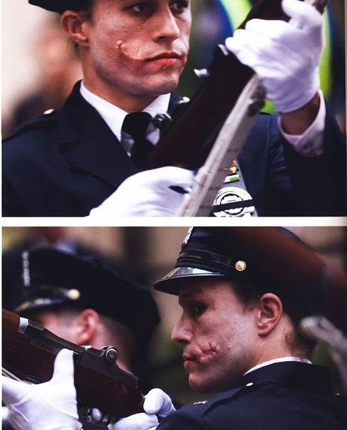 Хит Леджер на съёмках «Тёмного рыцаря» Кристофера Нолана
