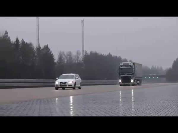 Тест экстренного торможения фуры Volvo с 40 тоннами груза