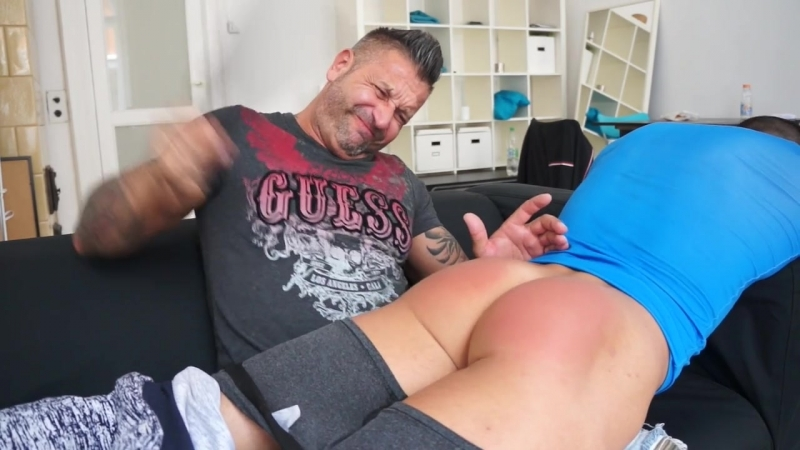 Young sports hunk recveives a good spanking