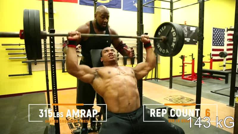 315 lbs SEATED SHOULDER PRESS\Жим сидя на плечи с весом 143 кг