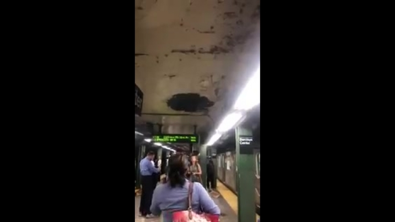 When you're waiting for the subway in New York and the ceiling starts falling on you.