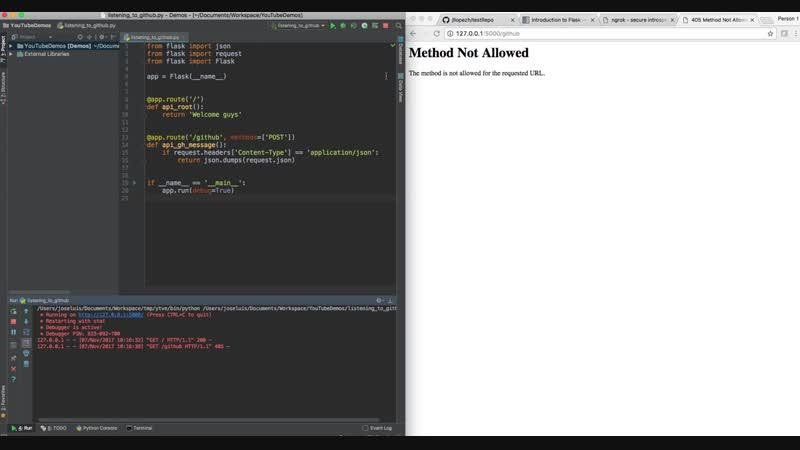 Python Create Github Webhook and POST info to a Flask WebApp ngrok