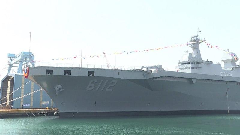 오스프리 운용 가능한 해군 독도급 대형상륙함 2번함 마라도함 진수식 영상!