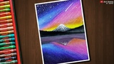 Galaxy Mountain Landscape drawing for beginners with Oil Pastels - step by step