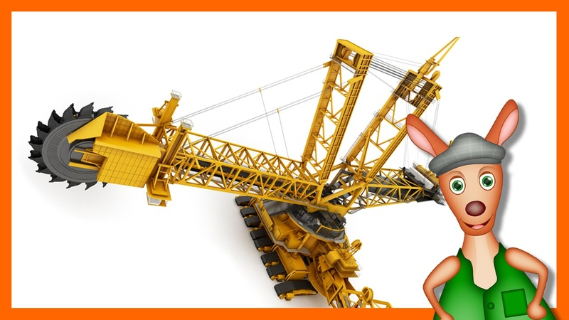 BUCKET WHEEL EXCAVATOR: Construction site videos for kids. Preschool Kindergarten learning.