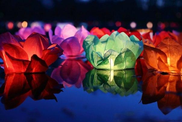 Фестиваль водных фонариков на пляже у Городского