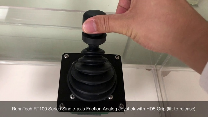 RunnTech RT100 Series Single-axis Friction Hold Analog Joystick with HD5 Grip (lift to release)