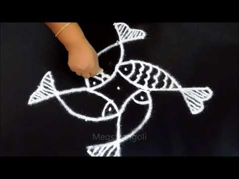 Fish kolam with dots | fish rangoli with 5-1 dots | fish muggulu with dots