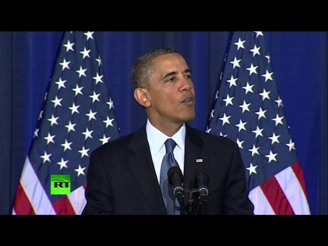 Речь Обамы была прервана «неудобными» вопросами