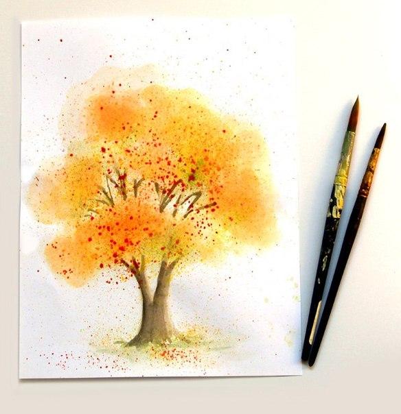 Пишем дерево акварелью