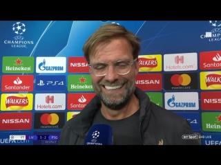 Jurgen Klopp: Daniel Sturridge had a super, super game! (Liverpool v PSG)