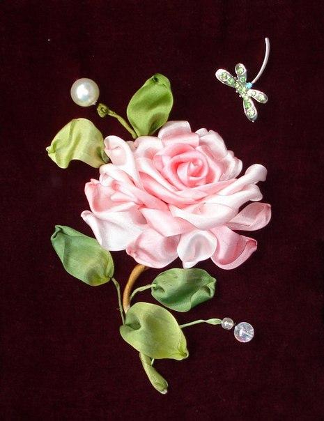 Вышивка лентами: роза. Мастер-класс. / X-Style