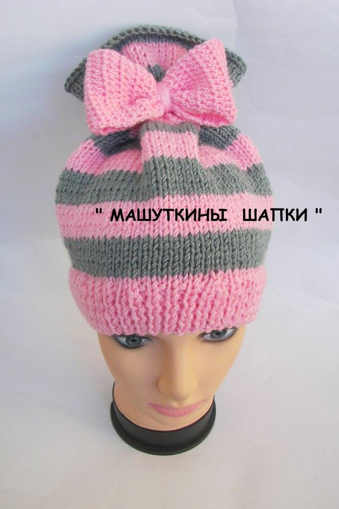 Детская шапочка с бантиком вязание 65