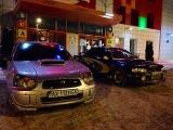 Two Subaru Impreza on the Kharkov Freedom square