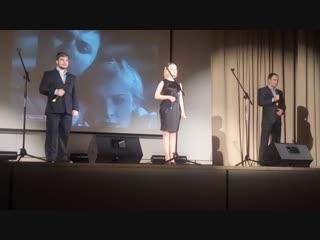 Торжественное собрание, посвящённое 100-летию ВЛКСМ. Выступление Евгения Колесника, Анны Михеевой и Игоря Маркова.