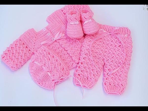 Pantalón a juego con chambrita ajuar muy fácil y rápido Majovel crochet