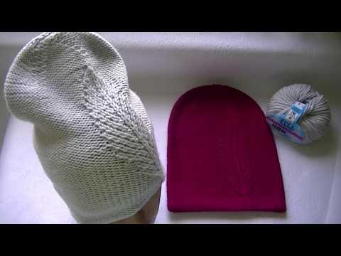 Вяжем шапку бини с узором перышко