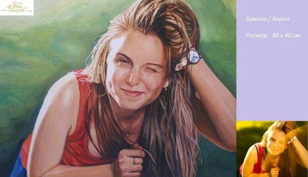 портрет акриловыми красками фото