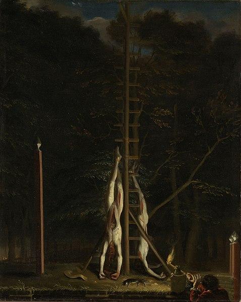 « одного шедевра». «Трупы братьев де Витта», Ян де Баен ок. 1672 1675гг. Холст, масло. Размер: 69,5 см × 56 см. На картине изображены обнаженные трупы Йохана и Корнелиса де Витта, выставленные