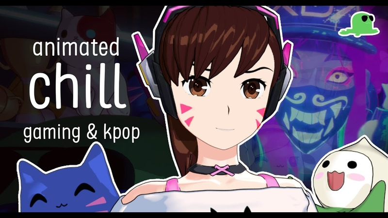 Late night chill with D.Va【K/DA Pop Stars】🎮 lofi animated late night chill vibes...