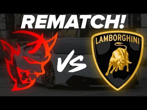 REMATCH! Dodge SRT Demon vs Lamborghini Huracan 14 Mile Drag Race