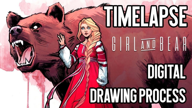 GIRLBEAR Timelapse: digital drawing process | Joe's ART