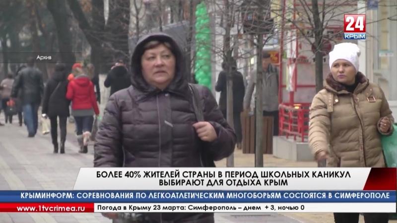 Более 40% жителей страны предпочитают провести неделю весенних школьных каникул в Крыму