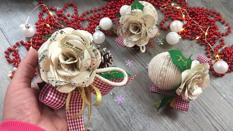Easy DIY Tutorial facilissimo come realizzare delle palline di Natale con rose di carta