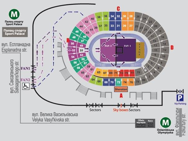 Схема запуска людей на стадион