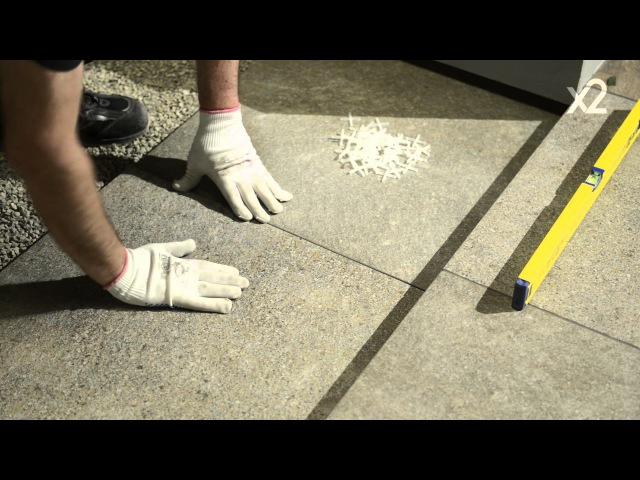 Italon X2 - укладка плиток на гравий - tile installation on gravel