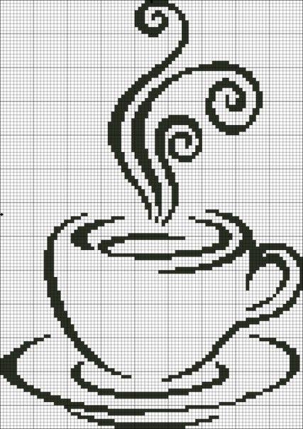 Подборка схем вышивок для кофеманов и любителей чая