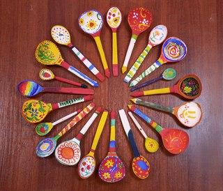 Роспись ложек с детьми - Методическая разработка: Роспись. Хохломская ложка