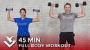 45 минутная силовая тренировка всего тела с гантелями Full Body Workout with Dumbbells 45 Min Total Body Strength Workout with Weights at Home Training
