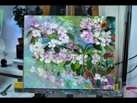 Картина маслом поэтапно Цветущая веточка яблони.Пленэр.Blossoming apple twig