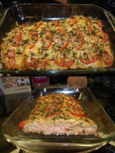 Запеченная красная рыба, с рисом, сыром и