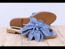 Женские шлепки с цветком цвет голубой