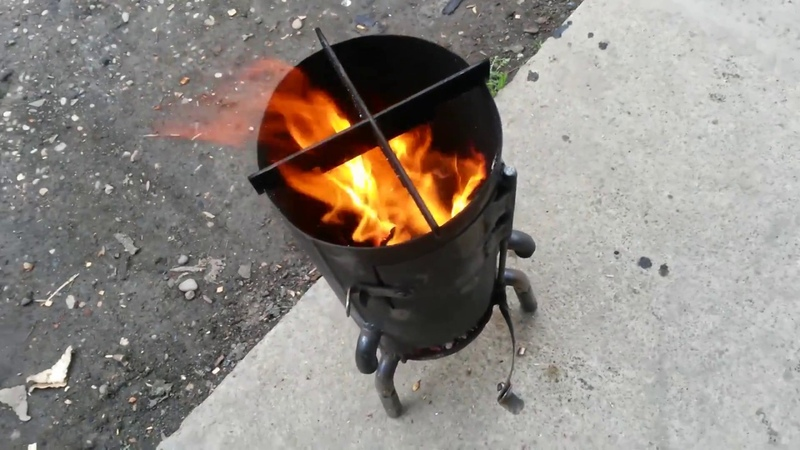 Печь походная из огнетушителя