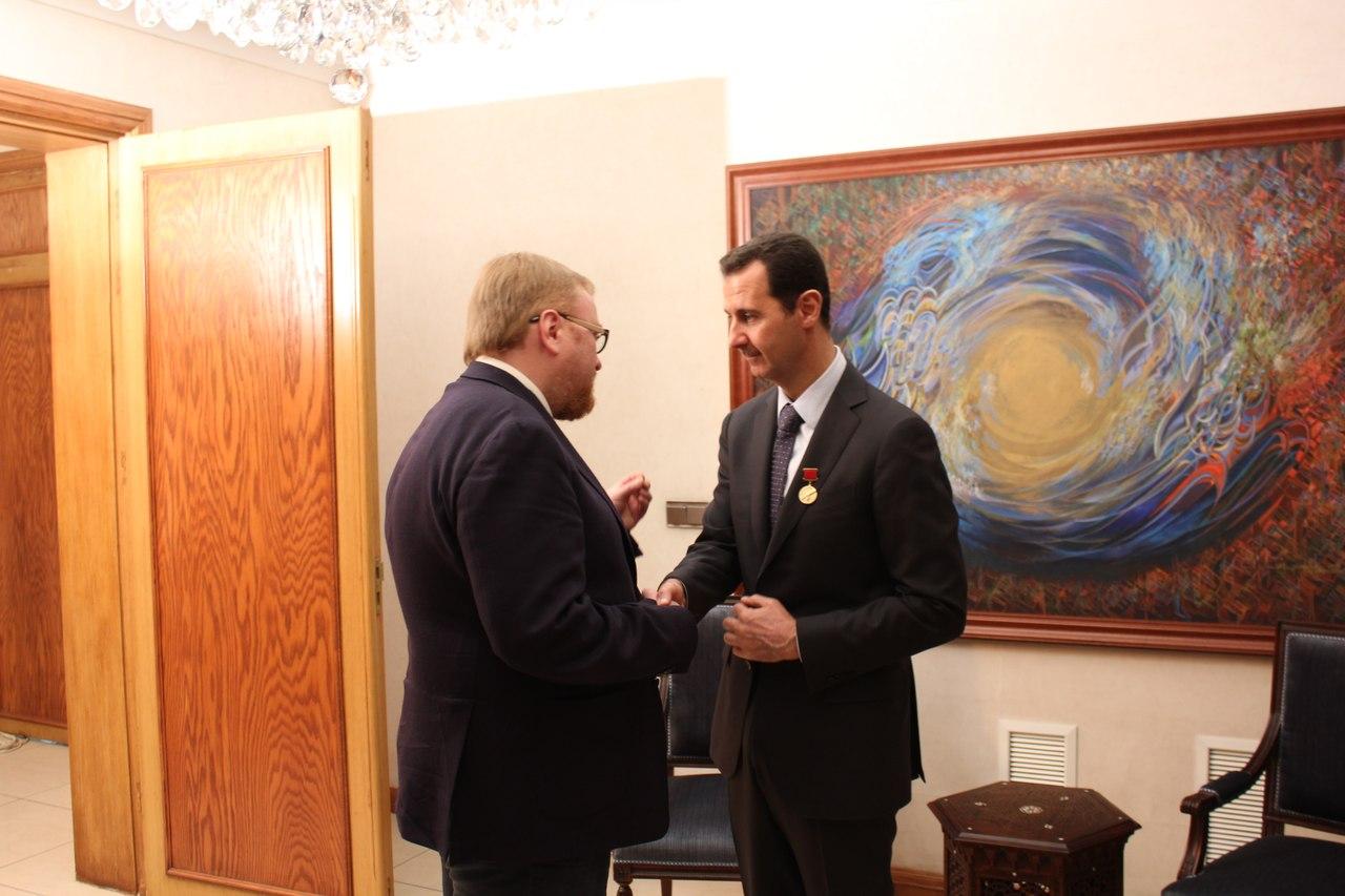 Встреча Милонова с Асадом. Автор - пресс-служба депутата