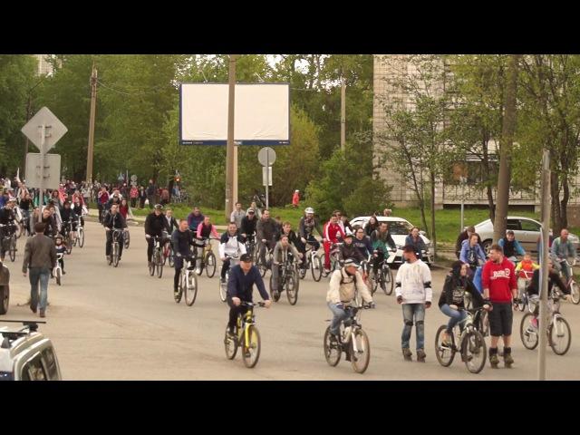 Колонна участников «Велоночи - 2017» в Сыктывкаре