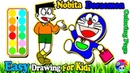 How To Draw Doraemon Nobita Shopping | Learn Colors For Toddlers | Painting And Drawing For Kids