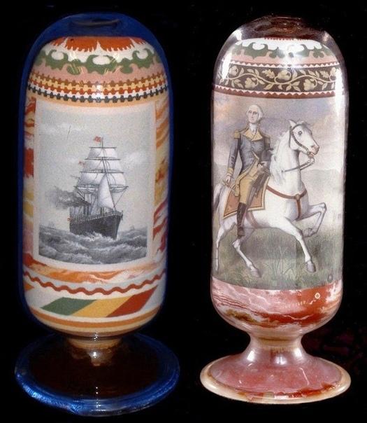 Подборка музейных экспонатов 19 века. Рисунки разноцветным песком.