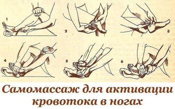 самомассаж для активации кровотока в ногах предлагаемый самомассаж активизирует кровоток в пальцах, ступнях, в коленных, голеностопных суставах ног и мышцах поясничного отдела. это эффективный метод профилактики варикозного расширения вен,