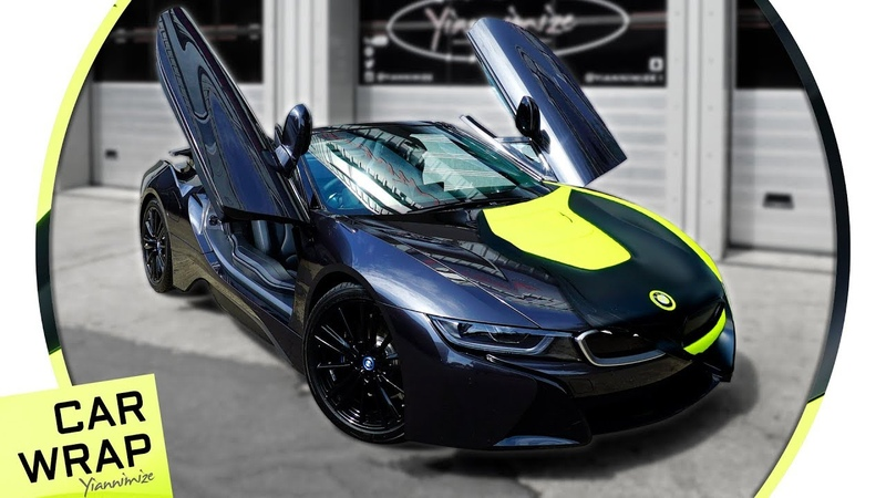 BMW i8 Roadster Wrapped Fluorescent Yellow and Satin Black