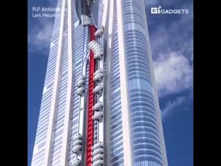 Лифты работают на внешней поверхности здания