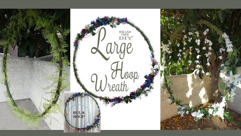 Large Hoop Wreath DIY / Wedding Wreath / Floral Wreath / Dollar Tree DIY
