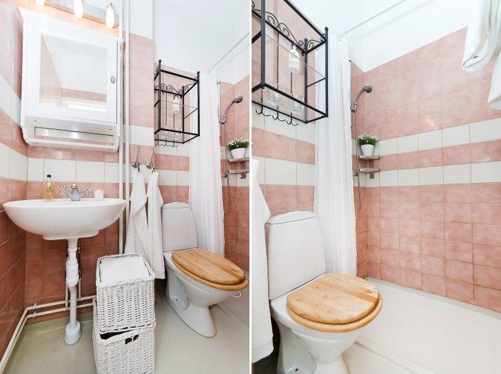 Квартира-студия 35 м в Европе с барной стойкой в широком кухонном проеме и кроватью-чердаком.